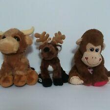 Lot Of 3 Stuffed Animals Aurora Toro Bull, Ganz Moose Brown Dan dee Monkey Plush