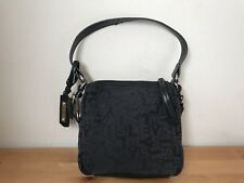 Sisley black leather Jacquard fabric mini handbag shoulder bag