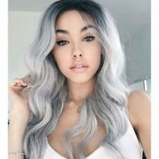 Women's Long Wavy Curly Ombre Black Root Silver Grey Cosplay Anime Wigs+Wig Cap
