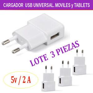 Cargador USB UNIVERSAL para moviles y Tablets. 5V / 2A.  LOTE 3 PIEZAS