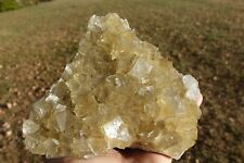 RARE,LUSTROUS YELLOW FLUORITE CRYSTALS SPRINKLED WITH PYRITE,CALCITE,SPAIN