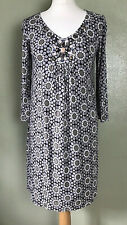 Boden Brown Taupe Floral Jewelled Shift 3/4 Sleeve Dress Size 6