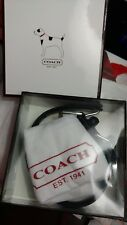 NEW With Box COACH Black Leather Dog Collar with Bone charm Size Extra Small XS