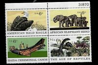 US 1970 Sc # 1387 - 90 6 cent Natural History Mint NH Plate Block of 4