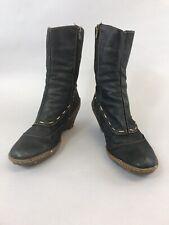 El naturalista Size 39 US8 UK6 Dark Blue Leather Ankle Zip Up Wedge Heeled Boots
