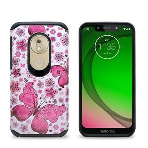 For Moto G7 Play / XT1952 Butterfly Design Shockproof Slim Hard Cover Case