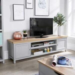 Extra Large 180cm Grey Oak TV Stand 1 Drawer Cabinet Television Unit Cable Tidy