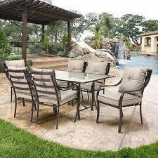 Metal Patio Dining Set 7 Piece Vintage Bistro Table And Chairs Outdoor Furniture
