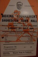 BOXING PROGRAMME - SHOREDITCH TOWN HALL - JIM MITCHELL V CHRIS ELLIOTT 1966