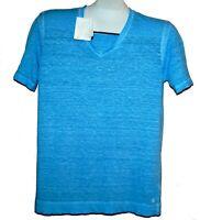 120% Lino Light Blue Italy Design 100% Linen Men's T- Shirt Shirt Size S