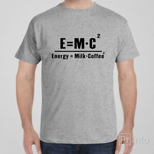 Funny cool T-shirt E=MC2 Enstein Energy coffee formula gift for men