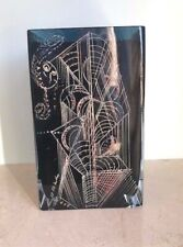 FRENCH  DEEP BLUE ENGAVED ART DECO GLASS Vase signed A.RIECKE  circa1930
