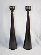 Circa 1960s Danish Modern Pair Wood Candlesticks