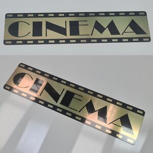 Brass etched CINEMA plaque sign in Vintage Classic style 30 x 7.5cm