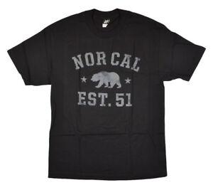 Nor Cal Sophomore Uomo 100% Cotone T-Shirt Piccolo Nero Nuovo