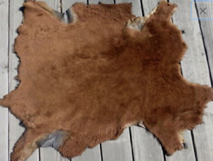 Nappa sheepskin shearling leather hide Large Tobacco Brown w/Black smooth back