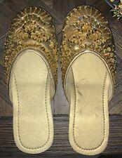 Gold Beaded Open Back SLIPPERS Sparkle Size 5/6 Women Slide Shoes