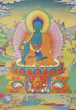 "Tibetan Thangka Medicine Buddha Silk Brocade Wood Scroll Printing 24"" X 14"""