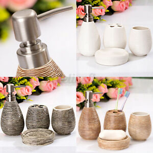Bathroom Accessories Dispenser Set 4PCS Ceramic Toothbrush Holder Cup Soap Dish