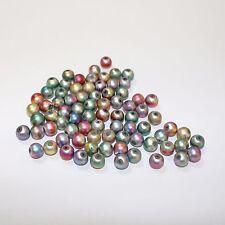 70 arco iris de colores pastel Bola Cuentas de Vidrio con un recubrimiento metálico tamaño 7.4x8.4mm