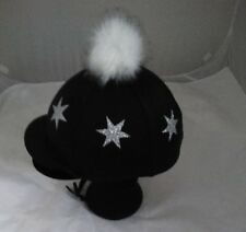 Faux Fur Pom Pom Riding Hat Cover Silk Equestrian Cross Country  you're a star