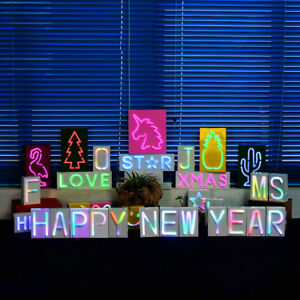 New Xmas Neon Alphabetical Letter LED Marquee Light Up Party Metal Decoration UK