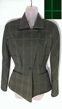 Thierry Mugler Paris Vintage Green Plaid Wool Jacket PRISTINE Cond Sz 36 France