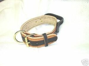 11/2 2 TONE LEATHER COLLAR POLICE K-9 SCHUTZHUND CUSTOM MADE SIZE COLOR ETC,,,,,