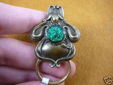 (#E-383) Green FLOWER Eyeglass BRASS pin pendant ID badge holder