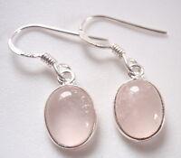 Rose Quartz 925 Sterling Silver Dangle Earrings Corona Sun Jewelry