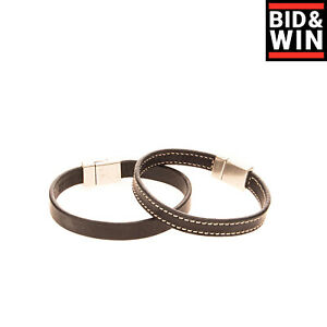 DSQUARED2 2 Piece Set Leather Bracelets Size M Magnetic Snap Made in Italy