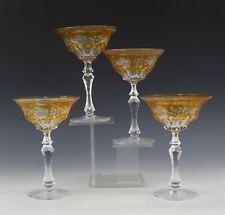 Set 4 Bohemian Czech Moser Crystal Amber Cut Clear Bar Barware Art Glass Goblets