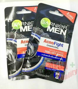 2x Garnier Men AcnoFight Charcoal Anti Blackhead Peel - Off Mask 2 x 6 ml.