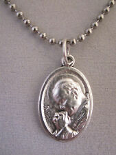 """Silver Plated St John Paul II / Divine Mercy Medal Italy Necklace 24"""" Ball Chain"""