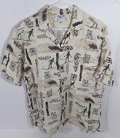 Go Barefoot Size Large Men's Hawaiian Shirt Tribal Print L Islander Surfing