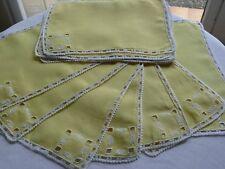 12 Petits napperons rectangulaires en fil de lin brodé mains linge ancien