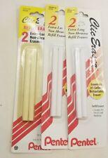 Pentel Clic Retractable Eraser Refills 2 Pack 3 Count New In Shrink Wrap