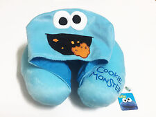 Cookie Monster Blue Hoodie Travel Pillow Hooded Neck Cushion NWT Sesame Street