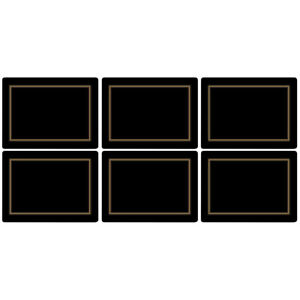 Pimpernel Black Classic - Cork-Backed Placemats - Set of 6