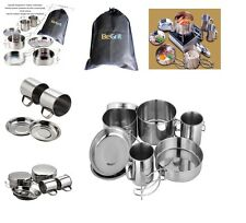 Camping Cookware Set Stainless Steel 8 Piece Mess Kit Outdoor Cook Backpacking