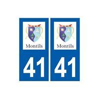 41 Montils  logo ville autocollant plaque stickers département ville arrondis