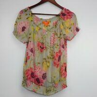 Joe Fresh Women's Multicolor Floral Short Sleeve Lightweight Blouse Top Size L