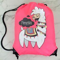 Personalised Llama Drawstring Neon Pink PE Bag Kids Swimming Gym Kit School