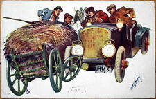1910 Artist-Signed Car Postcard: Automobile Side-Swiping Hay Wagon