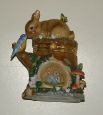 Large CWC Hinged Trinket Box - Bunny on Tree Stump - Great for Easter!