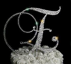 """Handmade Clear Crystals 6"""" Wedding Cake Topper Monogram Letter """"E"""""""