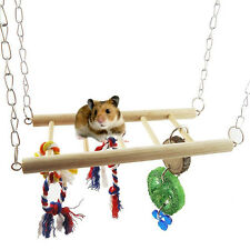 Wooden Hanging Ladder Swing Bridge Cage Toys for Small Mouse Parrot Bird Hamster