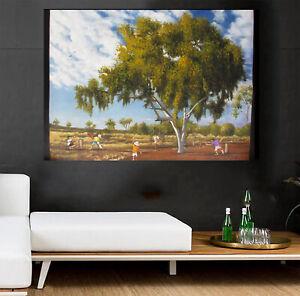 Cricket world cup Art signed landscape Painting Bush canvas Australia outback