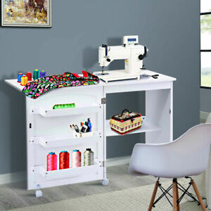 White Folding Sewing Craft Table Shelves Storage Cabinet Home Furniture W/Wheels