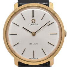 Auth OMEGA Deville Gold Plated/Leather Cal.620 Hand-winding Men's Watch A#94455